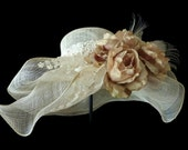 """Kentucky Derby Hat, Summer Hat, Race Day Hat, Adjustable Size, Sinamay Hat for Church, High Tea, a Garden Party and Weddings - """"A ROYAL TEA"""""""