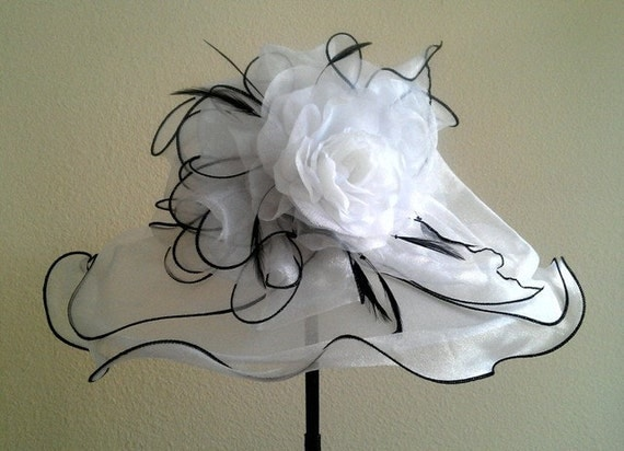 Dancing on Cloud Nine  /Kentucky Derby style organza hat in white is comfortable, light and airy