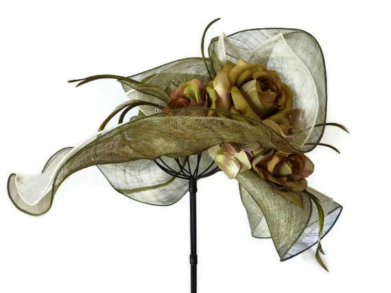 "Kentucky Derby hat, sun hat sinamay, Easter hat with flowers, Bridesmaid hat, womens hats for weddings, garden parties - ""GREEN WITH ENVY"""