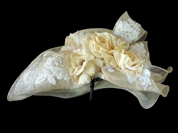 "Kentucky Derby Hat, Summer Hat, Race Day Hat, Sinamay Straw Hat for Church, High Tea, a Garden Party and Weddings - ""ROYAL HEIRLOOM"""