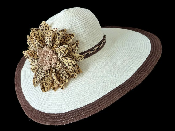 """Kentucky Derby Style Hat, Sun Hat, Summer Hat, Race Day Hat, Beach, Garden and Tea Party Hat with Cheetah Print Flower is - """"A GRRRREAT HAT"""""""