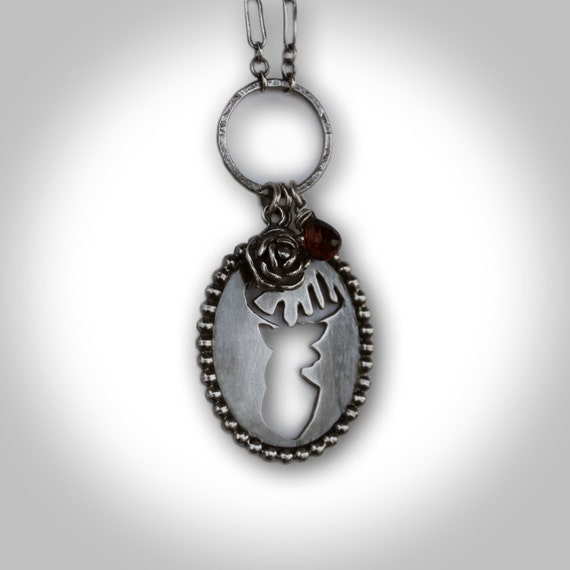 One of a Kind Sterling Silver Stag Head Necklace with Briolette Garnet