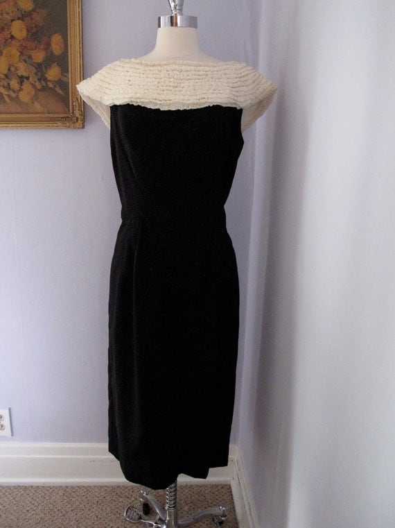 RESERVED for SAVAGEVintage - 1950s Black and Cream Ruffle Dress