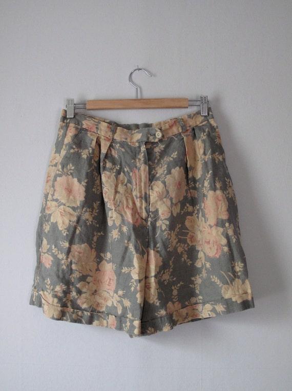 1980s Floral Shorts - Linen - Ralph Lauren