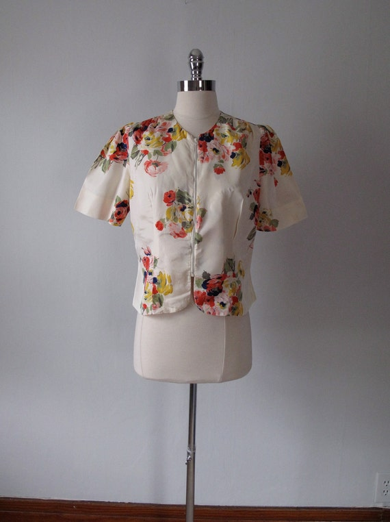 1940s Jacket - Floral - Rayon