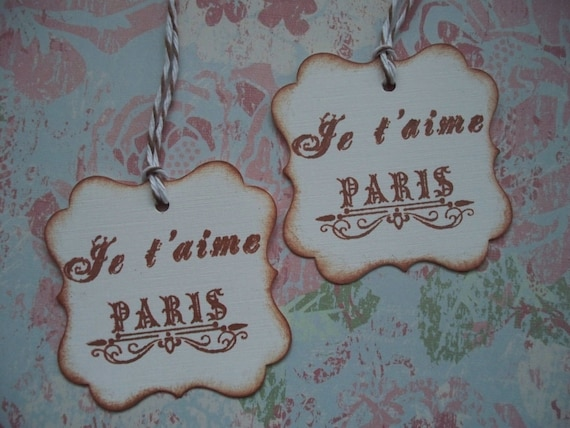 French Vintage Gift Tags Handstamped Vintage Style Je t'aime Paris Parisian Gift Tags - set of 10