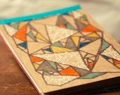 geometric dreams - eco friendly small ooak hand drawn mini notebook