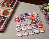 SPIROGRAPH pinback button set - set of four - colorful abstract geometricline