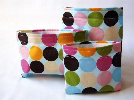 Reusable Snack Bags and Reusable Sandwich Bag - Set of 3 Reusable Lunch Bags - Neopolitan Polk A Dot - Eco Freindly Bag Set