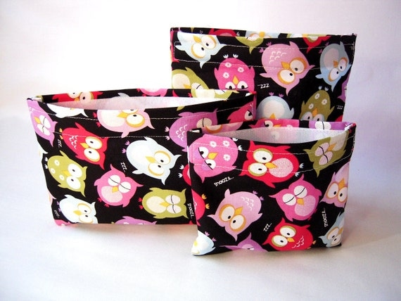 Reusable Snack Bag - Set of 3 Reusable lunch Bags - Night Owls - Eco Friendly