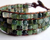 Leather beaded wrap bracelet or cuff - Green Moss agate stone with button closure