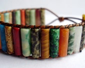 Beaded Leather wrap bracelet or cuff- Mixed gemstone with button closure