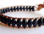 Beaded leather wrap bracelet - tiny blue goldstone with star button closure