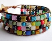 Leather beaded wrap bracelet or cuff -  Rainbow mixed stones with star buttons