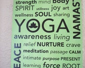 "Yoga Subway Art on Canvas Board with Vinyl Wall Lettering  16"" x 20"" Studio Home Decor Picture"