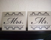 """Wedding Sign Signs Mr and Mrs Canvas Panel Board SET 8"""" x 10"""" Fancy Font"""