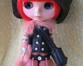 Lovely Blythe handmade pink leather set