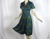 Vintage 60s Paisley Garden Dress, Sz M