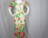 Vintage 60s Sunny Garden Floral Maxi Dress, Sz L