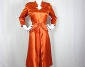 Vintage 1940s Brilliant Copper Satin Dress, Sz S, M
