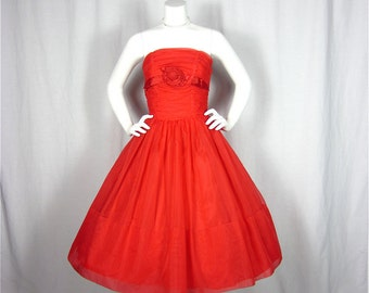 Vintage 50s Smokin Hot Red Dress, Sz S, M