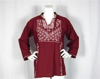Vintage 60s Oktoberfest Folk Embroidered Tunic, Sz S, M