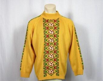 Vintage 60s Oktoberfest Men's Folk Patterned Sweater
