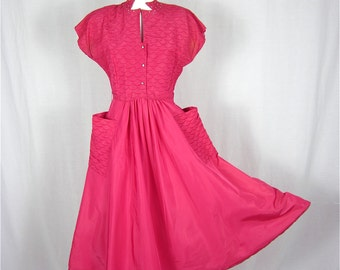Vintage 1940s Pink Satin and Rhinestone Swing Dress, Sz S