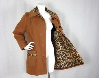 Vintage 60s Leopard Lined Coat, Sz M