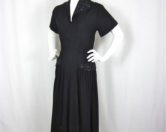 Vintage 1940s Sophisticated Black Beaded Dress, Sz L