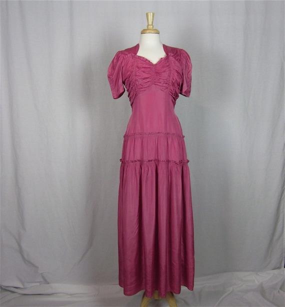Vintage 30s Raspberry Sorbet Satin Gown, Sz S