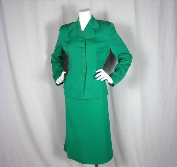 Vintage 50s Emerald Green Wool Tailored Suit, Sz L