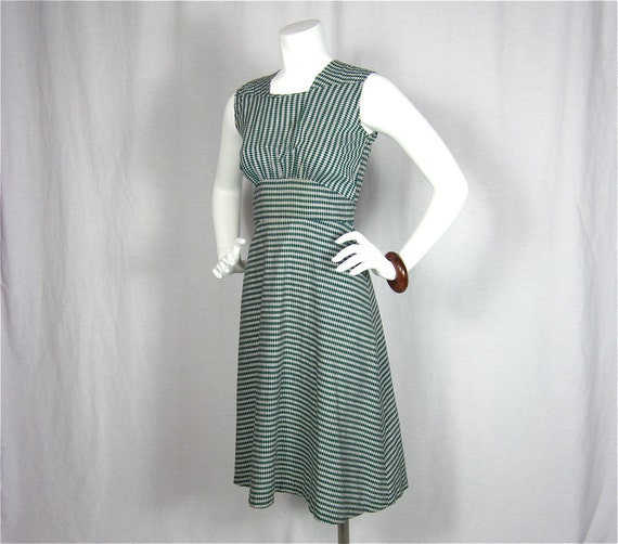 Vintage 40s Easy Being Green Summer Dress, Sz S