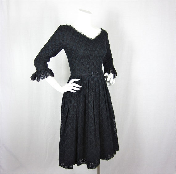 On Layaway for Elissa  //  Vintage 60s Mad Men Era Little Black Lace Dress, Sz S
