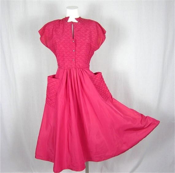 Vintage 1940s Pink Satin and Rhinestone Swing Dress, Sz S