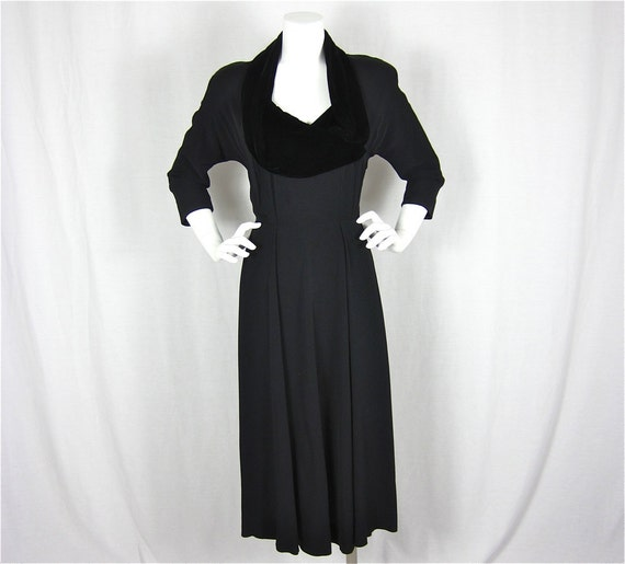 Vintage 40s Old Hollywood Glamour Cocoa Black Dress, Sz S