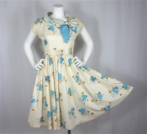 Vintage 1950s Cotton Circle Skirt Fun in the Sun Dress, Sz S