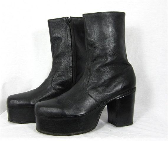 vintage 1970s boogie nights mens platform boots sz l