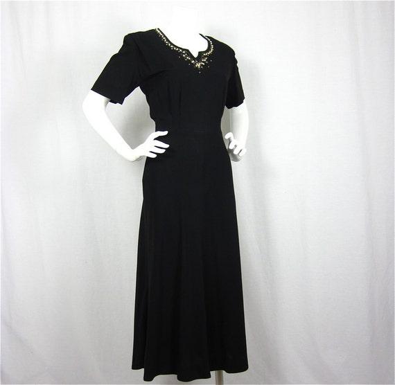 Vintage Sophisticated Seduction 1940s Dress, Sz M