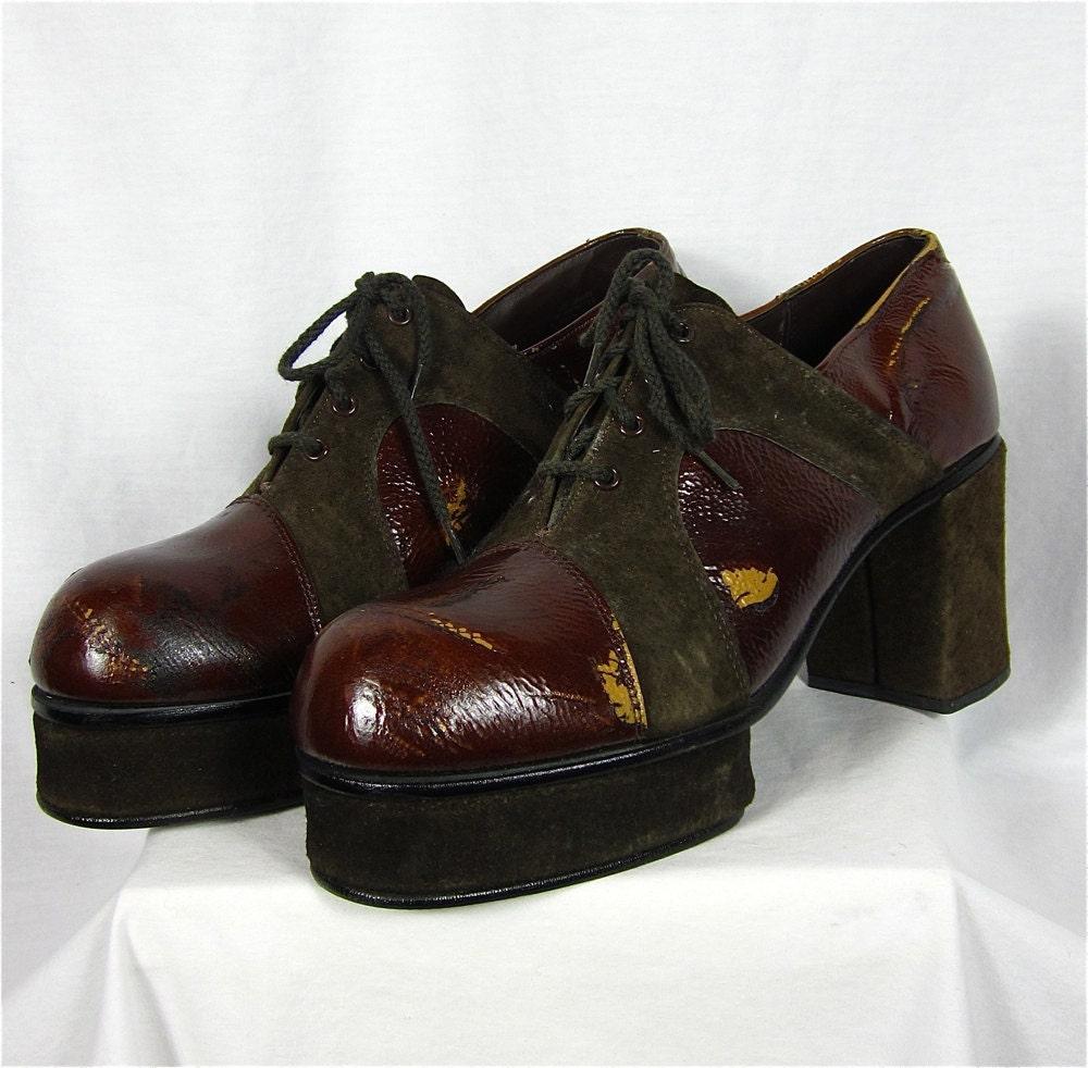 vintage 70s mens platform disco shoes by fireflyvintage on