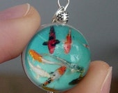 Japanese Koi Fish Lucite and Silver Plated Bubble Charm with Vintage Plastic Back