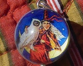Wicked Witch and Owl Bubble Charm with Vintage Plastic Cabochon