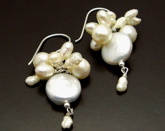 SNOW STORM ~ White Freshwater Pearls, Silver  Cluster  Earrings