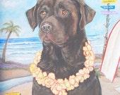 Surf Doggie Print (Chocolate Labrador Retriever Print)