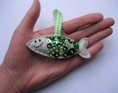 Smiley Sardine Ornament Set - GREEN