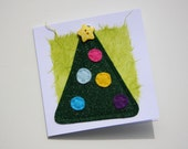 Cute felt christmas tree greetings card blank inside