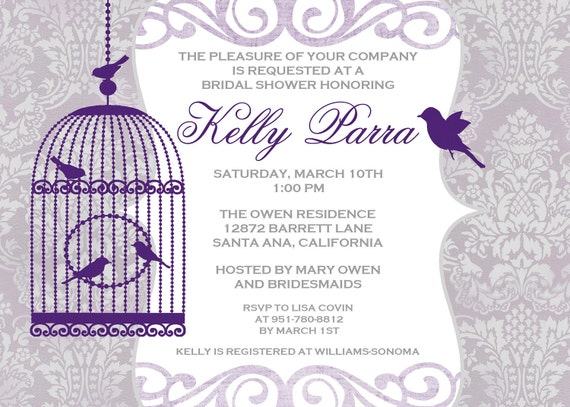 Bird Cage Wedding Shower Invitation - 5x7 DIGITAL FILE