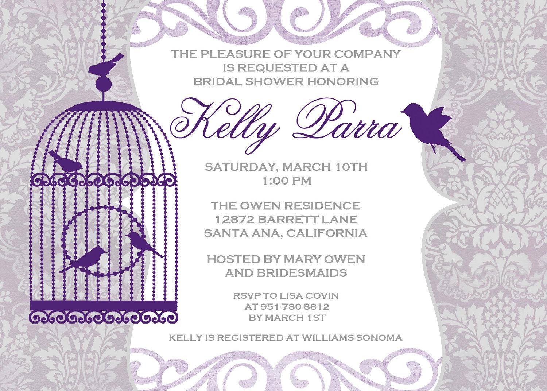 Wedding Invitations Birdcage: Bird Cage Wedding Shower Invitation 5x7 DIGITAL FILE
