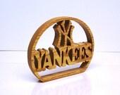New York Yankees Wood Sign Solid Red Oak Shelf Sign
