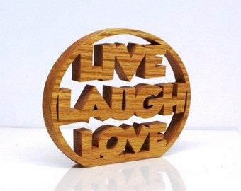 Live Laugh Love Decor Shelf Sitter Sign Wood Trivet